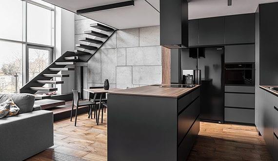 Beton In Interieur : Maisonette mit modernem interieur in graphite holz und beton