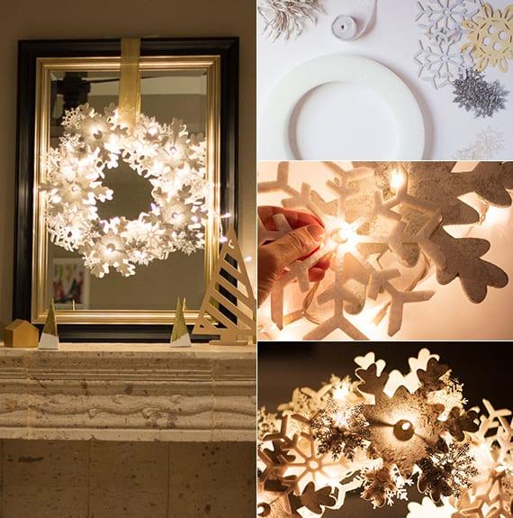 attraktive weihnachtsdeko selber basteln mit lichterkette dekorativen schneeflocken und spiegel. Black Bedroom Furniture Sets. Home Design Ideas