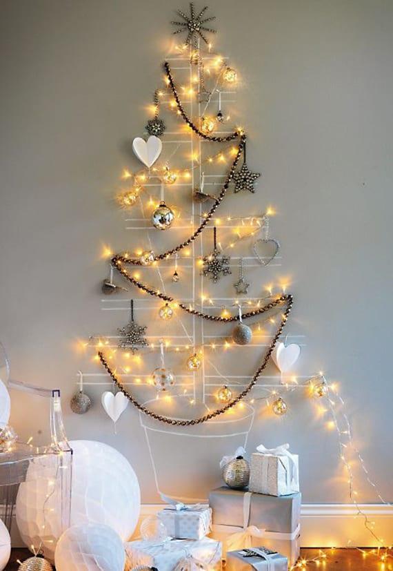Coole Weihnachtsdeko Ideen Fur Wand Mit Lichterkette Und