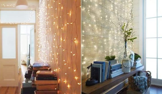 Einfache weihnachtsdeko ideen f r weihnachtliche wandgestaltung mit lichterketten freshouse - Einfache weihnachtsdeko ...