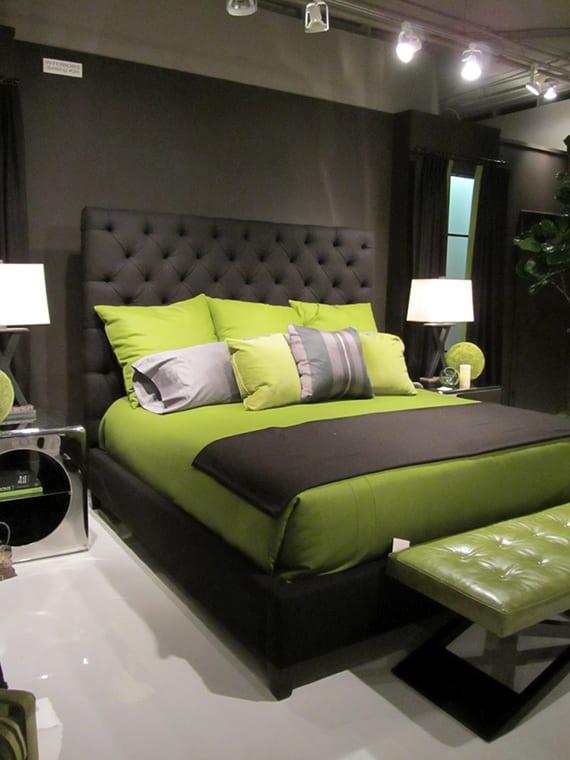 Modernes Schlafzimmer Interieur Design In Schwarz Und Grüngelb