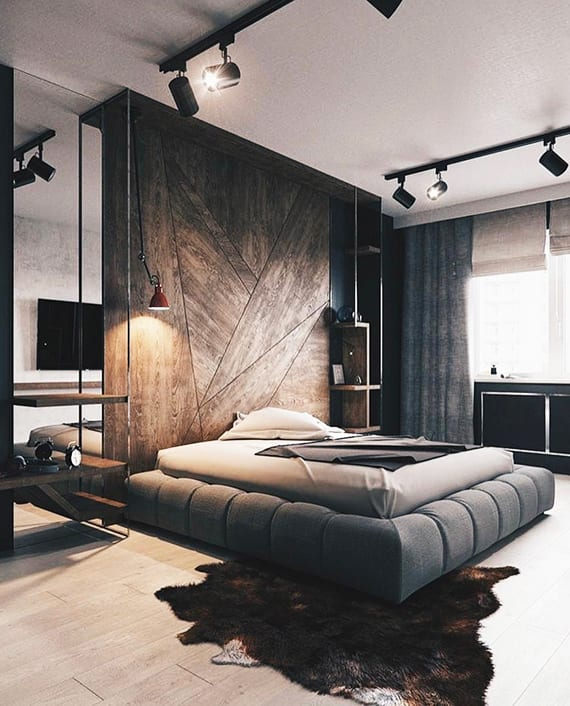 originelle raumgestaltung idee f r luxus schlafzimmer in schwarz und holz mit modernem. Black Bedroom Furniture Sets. Home Design Ideas