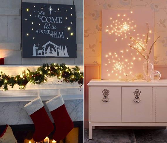 weihnachts leinwand ideen fuer selber basteln und kreativ