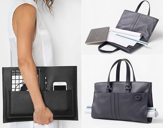 schwarzer designertasche aus leder für architekten als kreatives geschenk