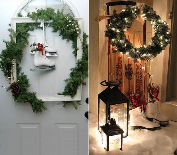 coole weihnachtsdeko ideen für hauseingang und haustür mit laternen schwarz, holzschlitten, DIY Weihnachtskranz aus Tannengrün, Schlittschuehen und Bilderrahmen weiß