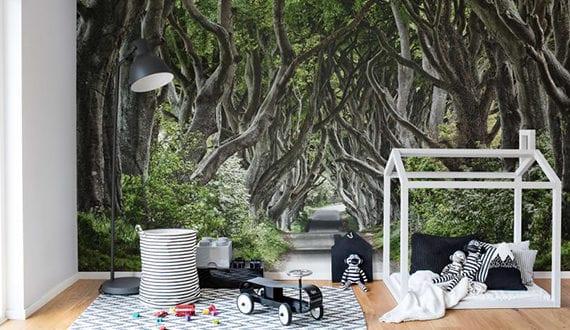 coole raumgestaltung kinderzimmer mit fototapete wald freshouse. Black Bedroom Furniture Sets. Home Design Ideas