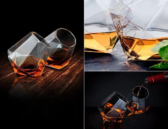 originelle gläser in diamantform für festliche tischdeko zu weihnachten und silvester