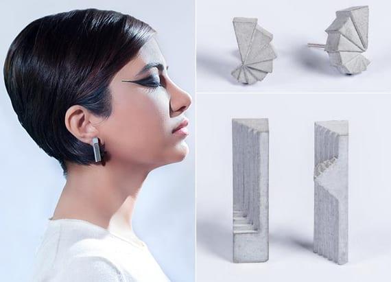 moderne beton-ohrringe mit architektonischem Design als originelles Geschenk für sie