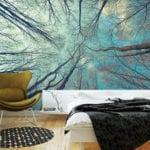 coole schlafzimmer ideen mit fotorealistischen wandtapeten für attraktive zimmergestaltung