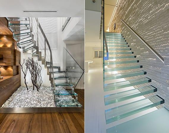 schöne treppen mit glasstufen für exklusive raumgestaltung, eingangsbereich mit glastreppe über kies, holzbodenbelag, holzwandverkleidung, wandgestaltung küche mit natursteinfliesen weiß, geschoßtreppe mit glasgeländer und einbauhandlauf