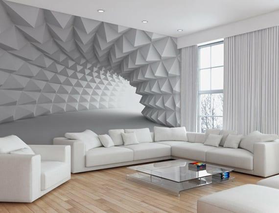 elegante gestaltungsidee für minimalistisches wohnzimmer interieur in weiß mit ecksofa, glascouchtisch, holzbodenbelag, weißen gardiden und 3D-Tunell-wandtapete