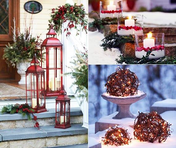 outdoor dekoideen für treppen mit alten metalllaternen rot, diy windlichter glas und leuchtende gartenkugel