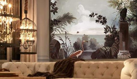 Luxuri se raumgestaltung wohnzimmer mit wandtapete und kronleuchtern in vogelk figen ber - Raumgestaltung wohnzimmer ...