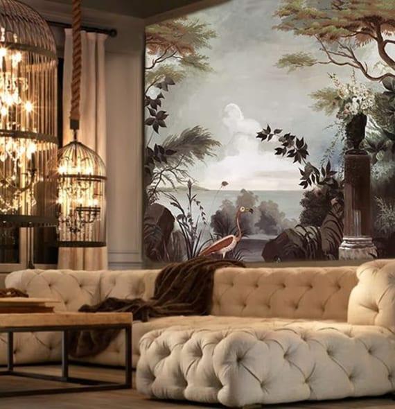 wandtapete-kunstwerk für kreative wohnzimmergestaltung im rustikalen stil mit vintage akzenten und diy pendellampen