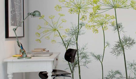 moderne und frische wandgestaltung mit fototapete pflanzen f r wei es interiur arbeitsraum. Black Bedroom Furniture Sets. Home Design Ideas