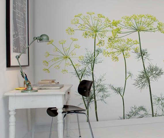 tolle wandgestaltung mit grünen pflanzen für home-office im skandinavischen stil