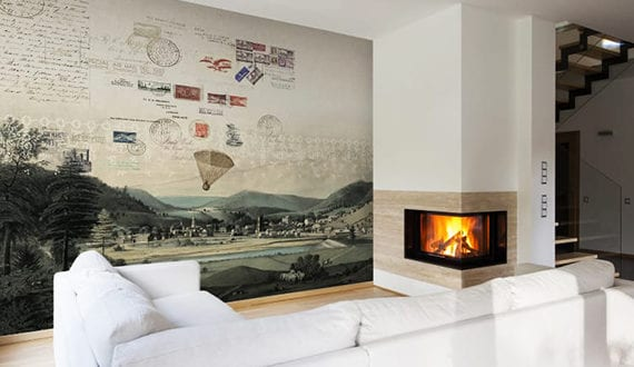 moderne wandgestaltung wohnzimmer mit fototapete postkarte. Black Bedroom Furniture Sets. Home Design Ideas