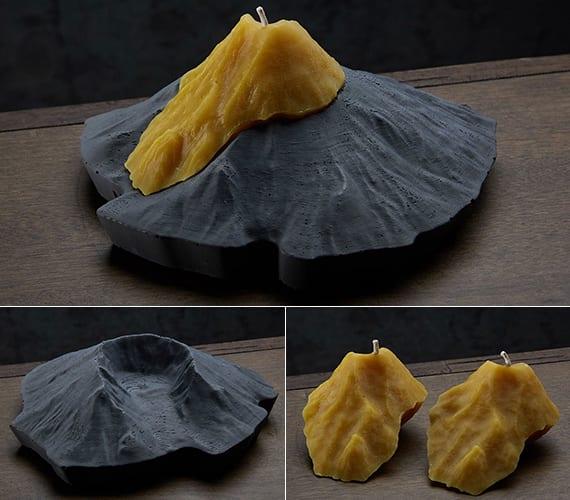 attraktive tischdeko idee mit originellen kerzen und kerzenhalter in berg-form