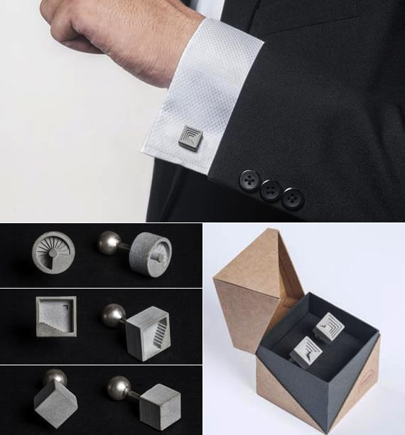 moderne manschettenknöpfe aus beton als besonderes geschenk für architekten