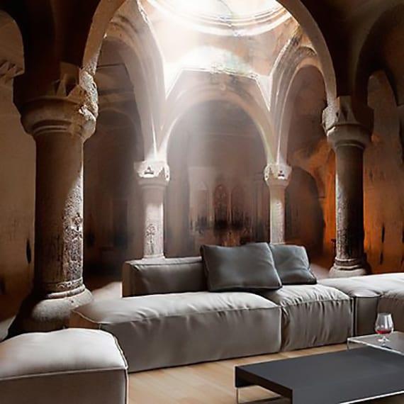 coole raumgestaltung mit fototapete für moderne wohnzimmer mit holzbodenbelag, modernem couchtisch weiß und polster sofa grau
