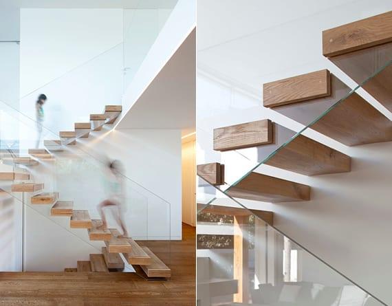 maisonette mit moderner kragarmtreppe aus blockholzstufen und glasgeländer