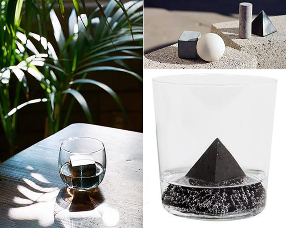 whiskey kühlsteine aus marmor und speckstein in verschienen geometrieformen als coole geschenkidee