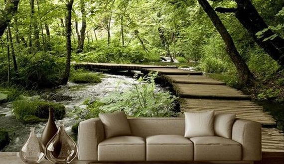 Wohnzimmer Umgestalten Mit Wald Fototapete Hinterm Sofa Freshouse