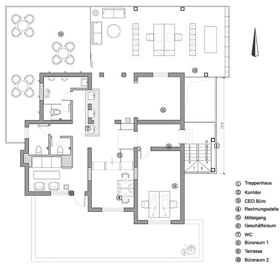 offener buroraum mit dachterrasse, glastreppenhaus und erweiterte nutzfläche durch glasanbau