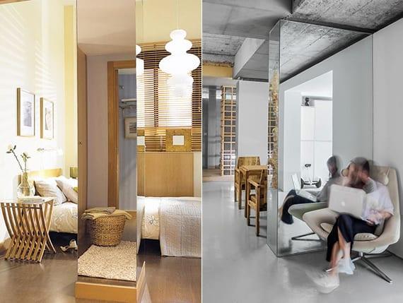 Kreative Raumgestaltung Durch Die Verkleidung Von Stützen Mit Spiegelglas