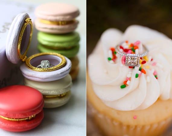 verlobungsring kreativ verschenken mit einem dessert oder in einer macaron-ring box