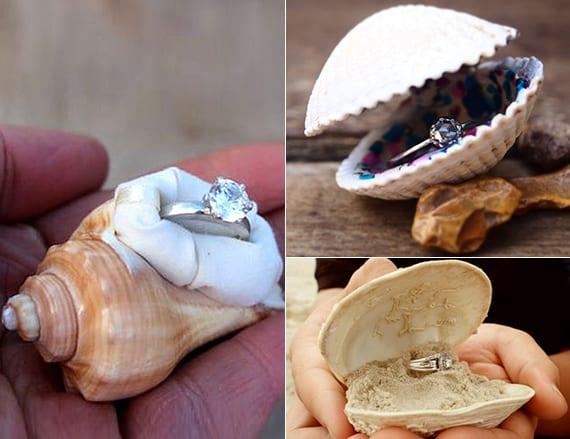 muschelschale ringbox selber basteln für eine romantischen heiratsantrag am meer