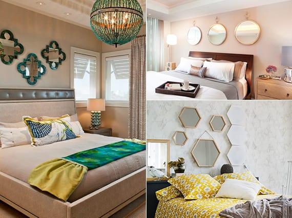 coole wanddekoration im schlafzimmer mit kleinen dekospigeln in verschiedenen formen