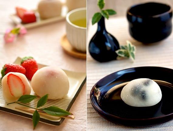 leckere wagashi süßigkeiten aus klebreis mit verschiedenen füllungen