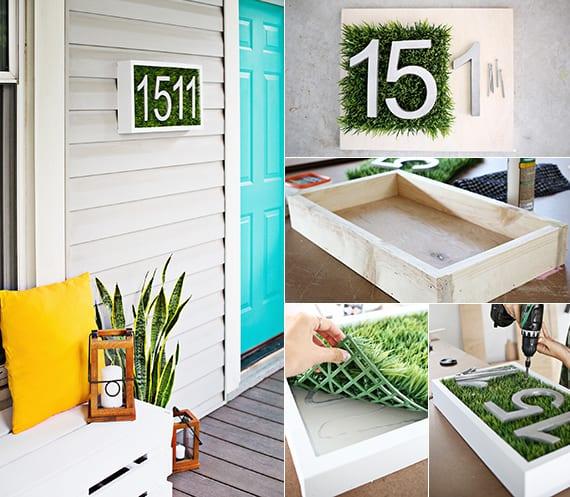 coole dekoideen veranda und holzterrasse mit diy sitzbank aus paletten, dekokissen gelb, holzlaternen, haustür blau und selbstgemachter hausnummer weiß und grün