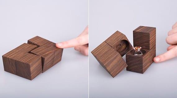 moderne ringboxen aus holz für einen überraschenden heiratsantrag