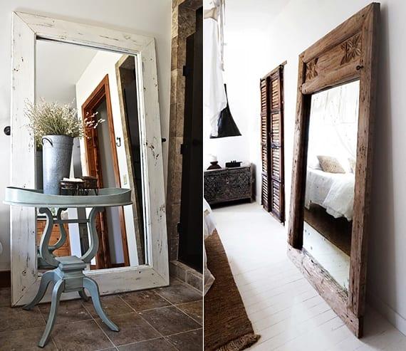 schlafzimmer schick und rustikal einrichten mit rustikalem diy spiegel holz