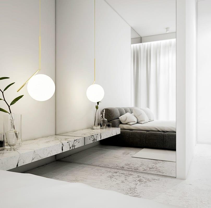 weißes schlafzimmer mit betonboden minimalistisch einrichten mit designer bett grau, nachttisch regal marmor, moderne kugel-pendellampe, glasvasen