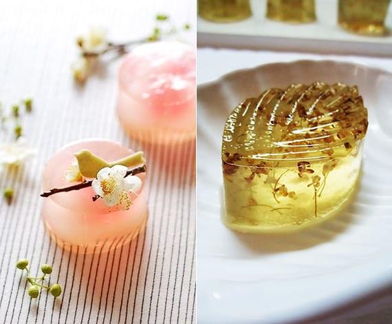 gelee nachtische mit pflaumenliquor, zitrone und blüten als kreative dessertideen für festlichen nachtisch