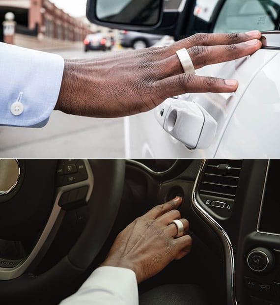 auto entsperren und starten mit biometrischem ring-token