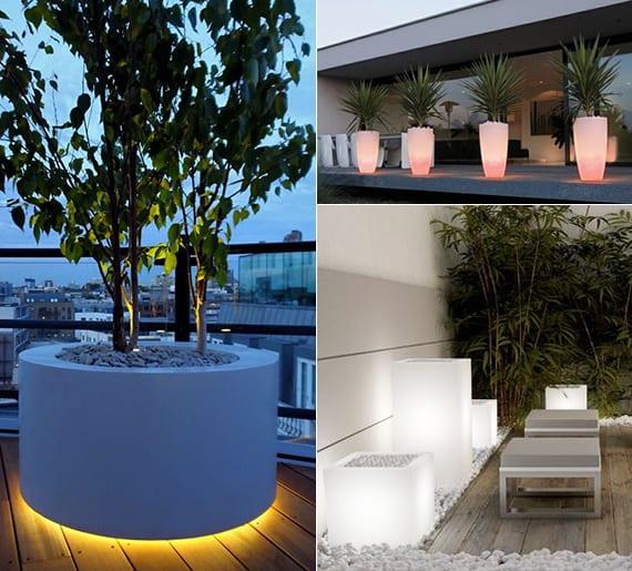 beleuchtete Pflanzengefäße für interessante lichtgestaltung und coole dekoration von terrassen