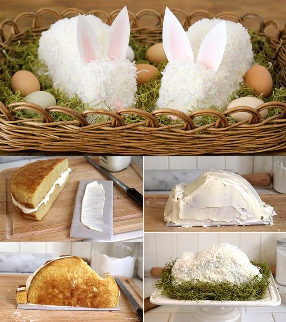 einfaches rezept für osterhase kuchen mit frischkäse-kokos glasur als coole tischdekoidee zu ostern