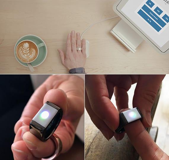 multifunktionaler ring im schwarzem Rhodium mit fingerabdruck-sensor für sichere zahlungen und passworteingabe