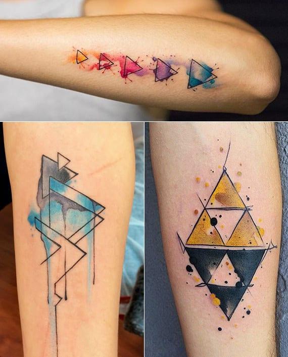 bedeutung und ideen für coole dreieck tattoo unterarm in verschiedenen farben