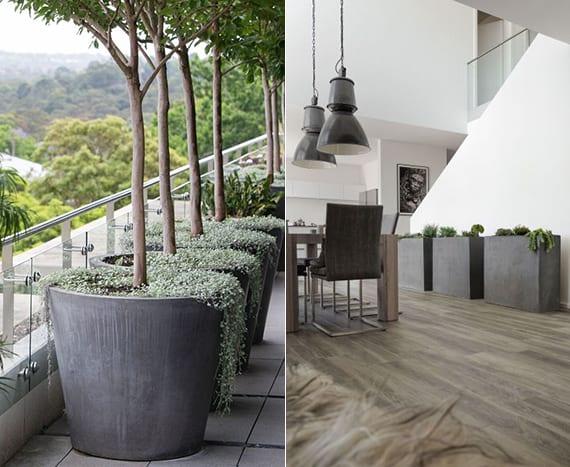 coole wohnzimmer dekoration und coole terrassengestaltung mit großen pflanzenkübeln aus beton für begrünung mit bäumen und sukkulenten
