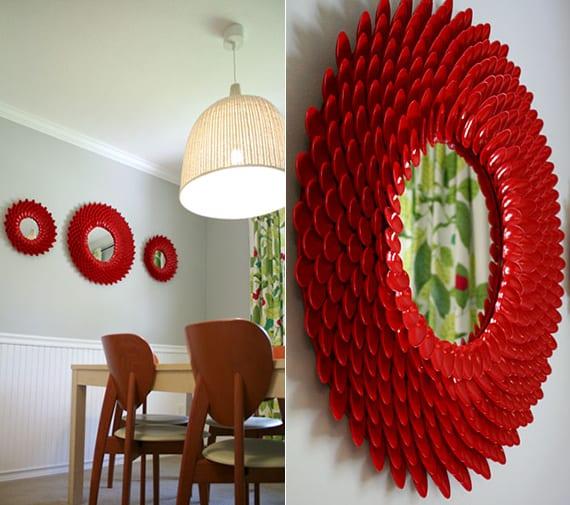 runde spiegelrahmen aus plastiklöffeln basteln als coole diy wanddeko in rot
