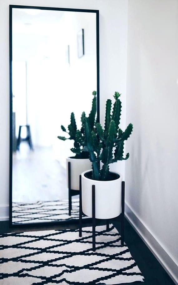 zimmer modern dekorieren mit großem spiegel, weißemteppich mit ikatmuster auf holzboden scharz und sukkulente in modernem blumentopf