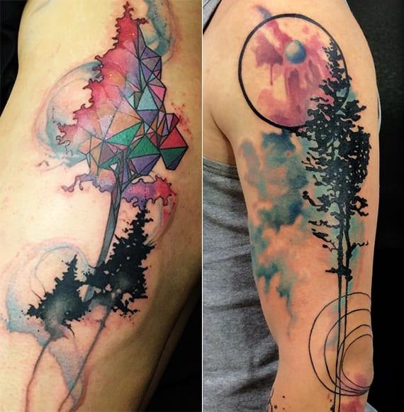 kreative natur tattoo designs und geometrische tätowierungen für arm