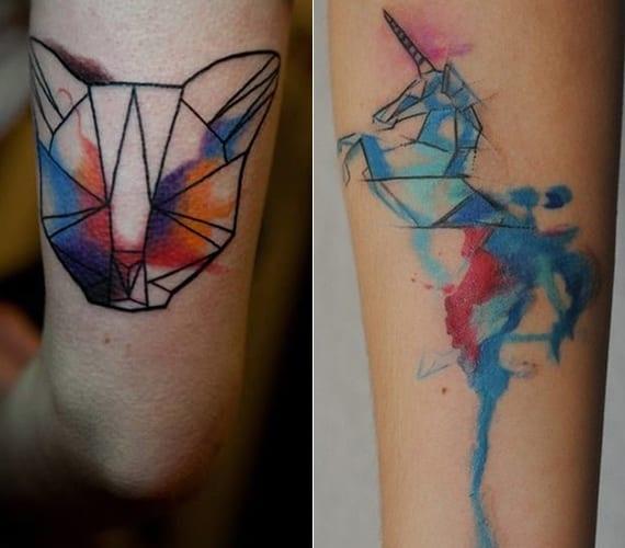 katze und Einhorn tätowierungen im geometrischen aquarell tattoostil