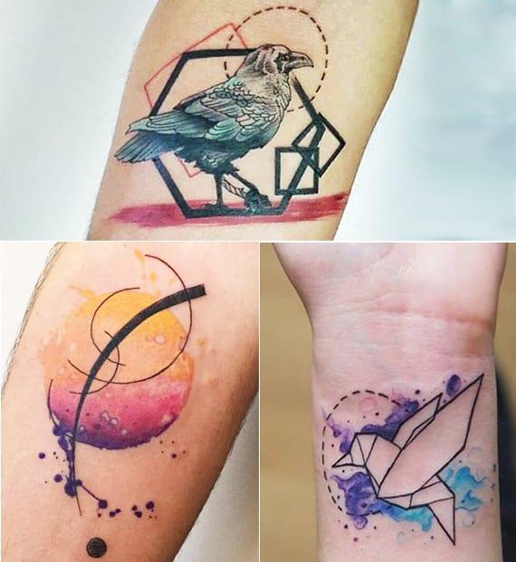 coole farbige tattoo ideen mit geometrischen figuren und vögeln für frauen unterarm und handgelenk tätowierung