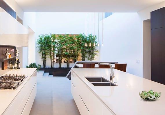 moderne offene küche weiß mit kochinsel und pflanzendeko in schwarzen pflanzenkübeln aus fiberglas